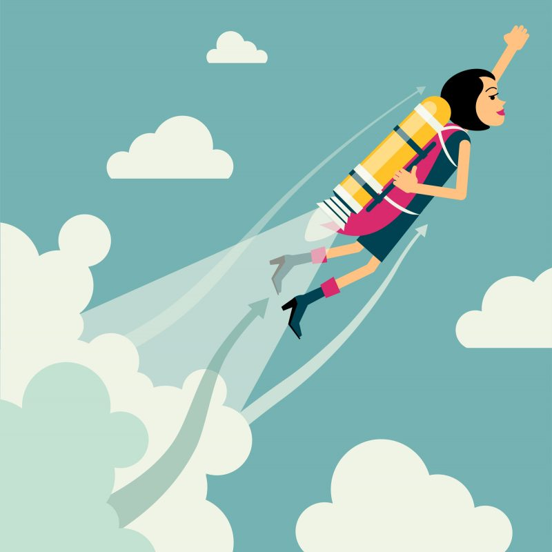 Motivated, determined woman with brunette hairshooting up into the cloudy sky with a yellow rocket