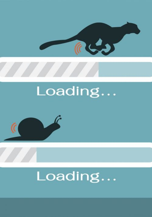 two white loading bars, one bar on top of the other with one top bar with a cheetah running on top and loading faster, and the bottom loading slower with a snail crawling on top on blue background