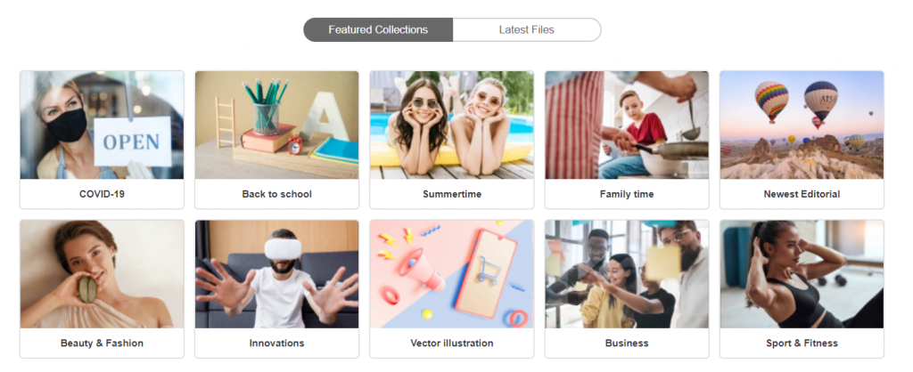 Featured Collections categories shown on Deposit photos