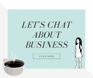 Let's chat about business image with cartoon girl and coffee with click here button for user to book session on improving site speed