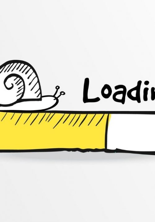 yellow cartoon loading bar with snail crawling on top of loading bar for site speed