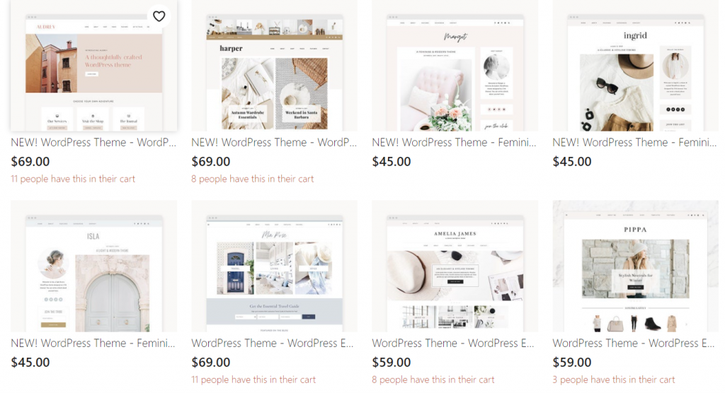 fast wordpress site themes listed on Etsy seller page