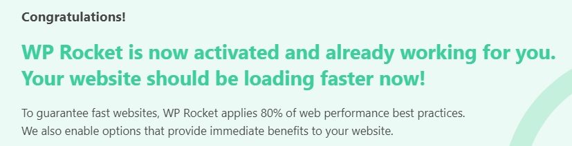 WP rocket congratulations banner in caching plugin that helps the user improve WordPress site speed