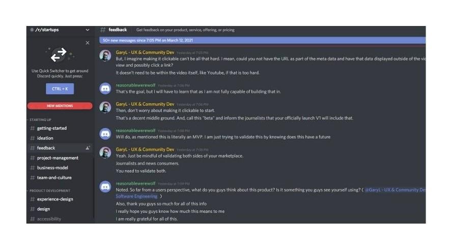 Conversation in discord server for startup subreddit