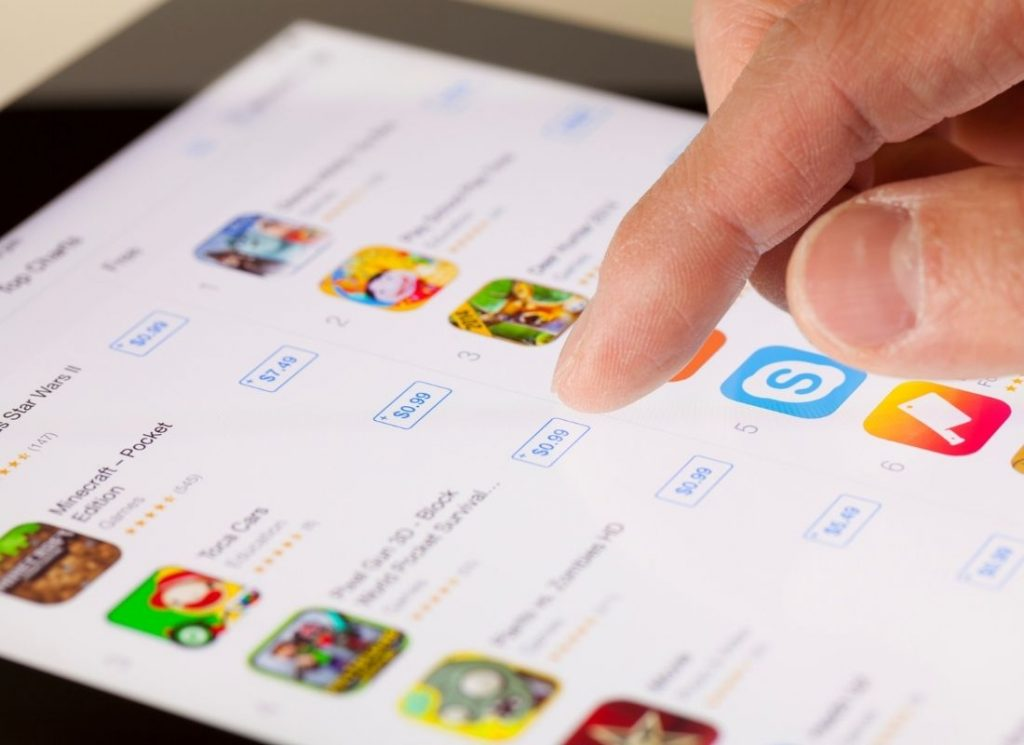 app user scrolling to download app on the app store