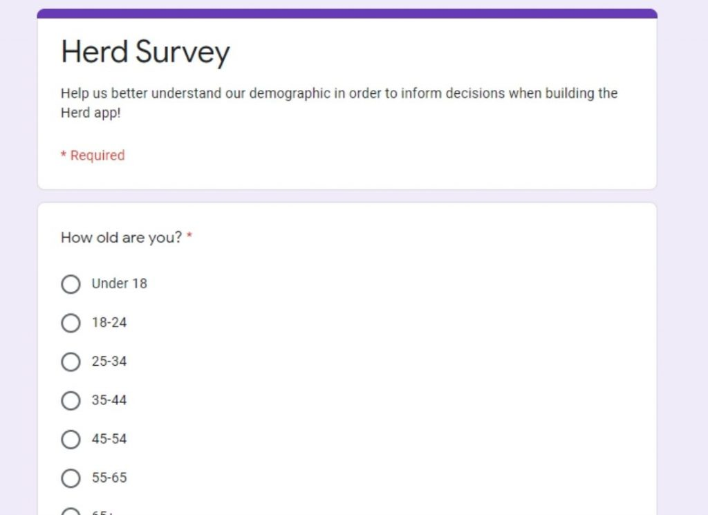 App market research survey in Google forms