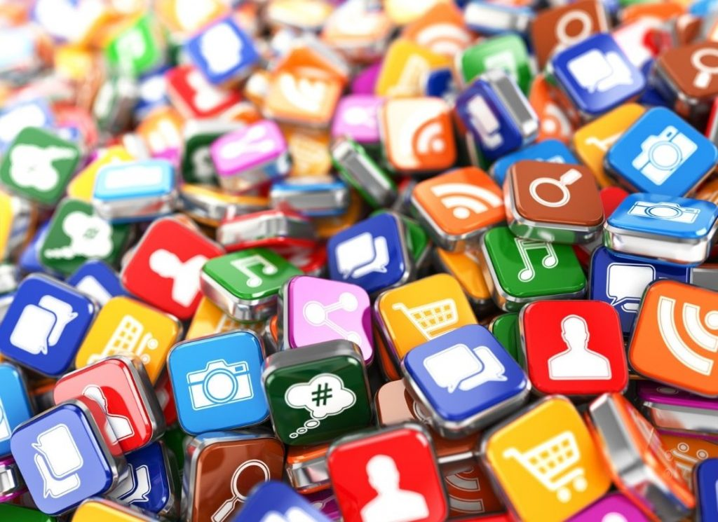 thousands of mobile app icons in a pile